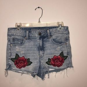 American Eagle High Rise Embroidered Shorties